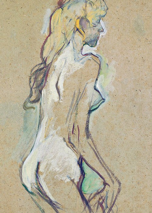 Nude Young Girl Greeting Card featuring the drawing Nude Young Girl by Henri de Toulouse-Lautrec