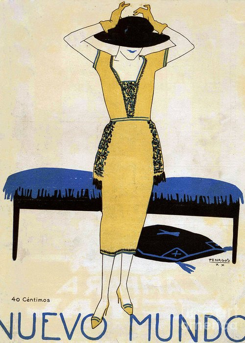 1920�s Greeting Card featuring the drawing Nuevo Mundo 1920 1920s Spain Cc Womens by The Advertising Archives