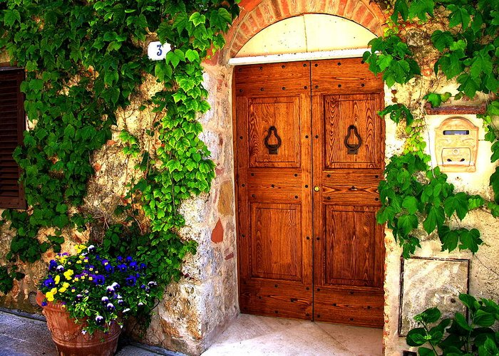 Doors Greeting Card featuring the photograph Number Three In San Gimignano Tuscany by Jacqueline M Lewis