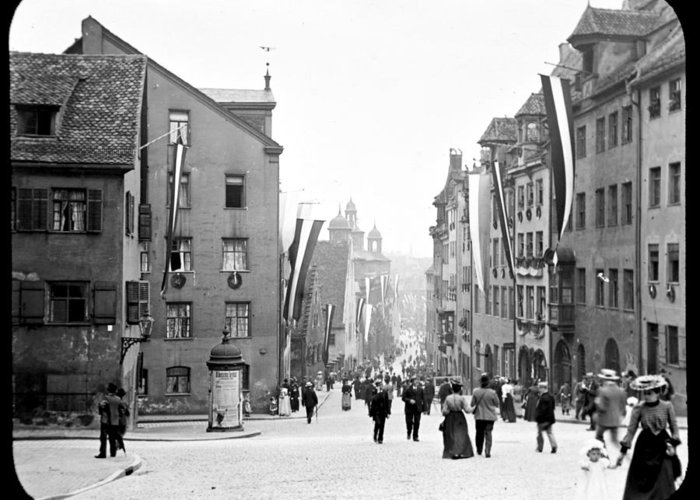 Vintage Photograph Greeting Card featuring the photograph Nuremberg Street Scene 1903 Vintage Photograph by A Gurmankin