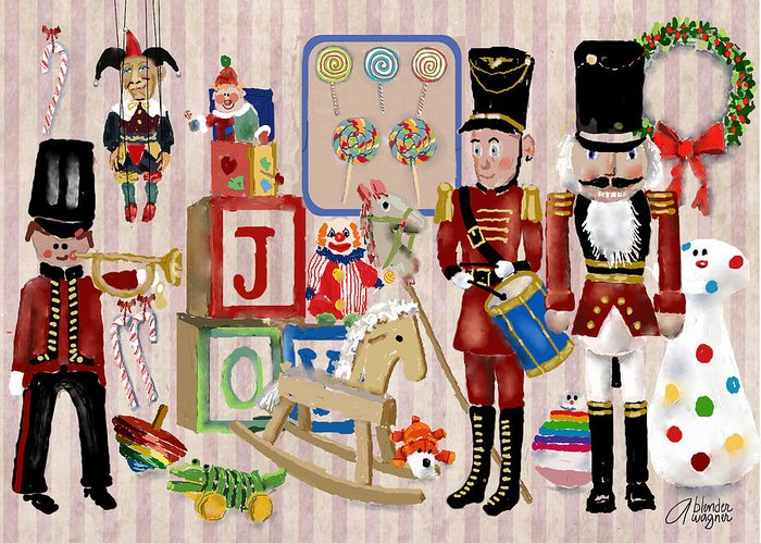 Christmas Greeting Card featuring the digital art Nutcracker And Friends by Arline Wagner