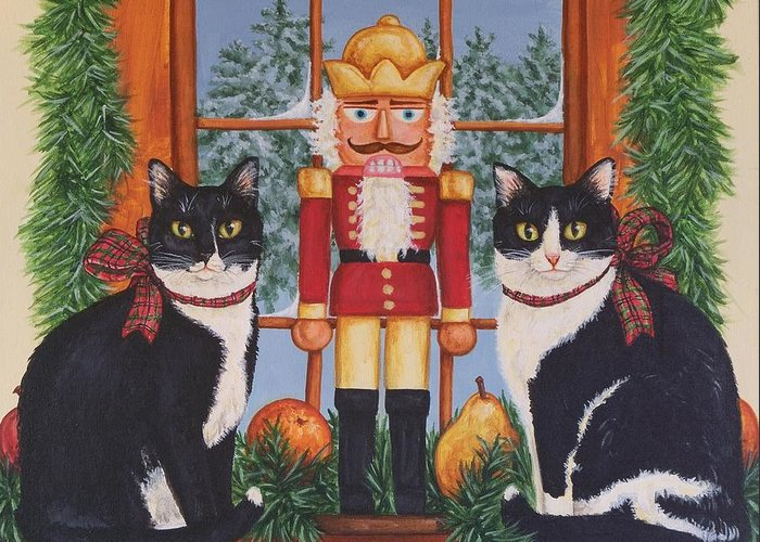 Cats Greeting Card featuring the painting Nutcracker Sweeties by Beth Clark-McDonal