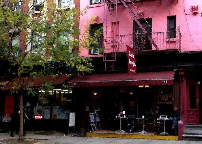 Cafe Borgia Greeting Card featuring the digital art Ny Streets - Cafe Borgia II Soho by Gabriel T Toro