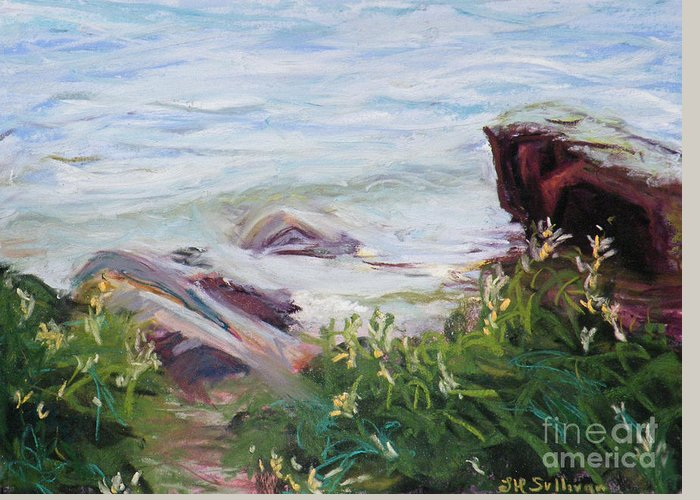 Nyack Beach Greeting Card featuring the pastel Nyack Beach, River's Edge by Laura Sullivan