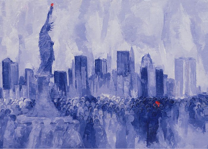 Nice Greeting Card featuring the painting NYC by Bayo Iribhogbe