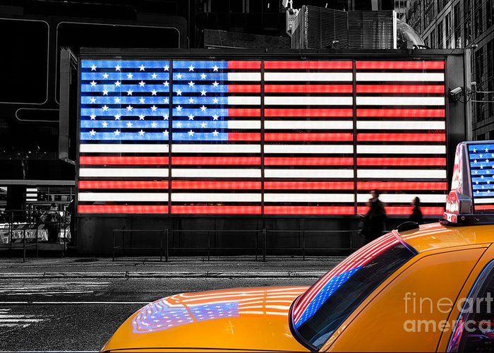 Yellow Cab New York Greeting Card featuring the photograph Nyc Cab Yellow Times Square by John Farnan