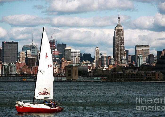 John Rizzuto Greeting Card featuring the photograph Nyc Harbor View by John Rizzuto