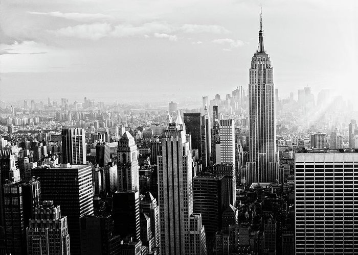 Lower Manhattan Greeting Card featuring the photograph Nyc Skyline.black And White by Lisa-blue