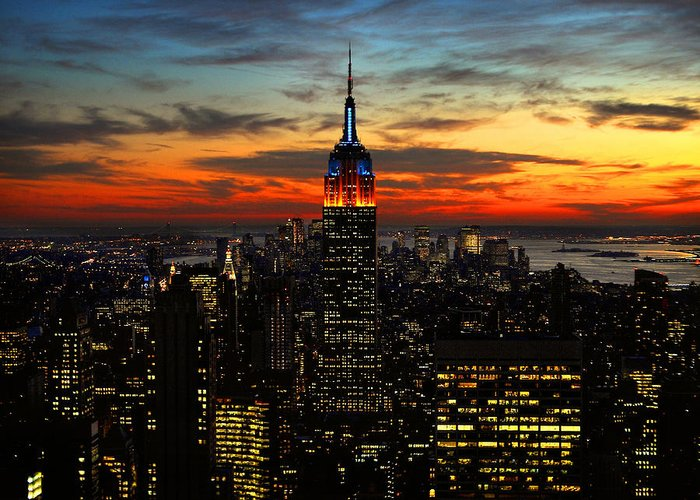 New York City Greeting Card featuring the photograph Nyc Sunset by Val Stone Creager