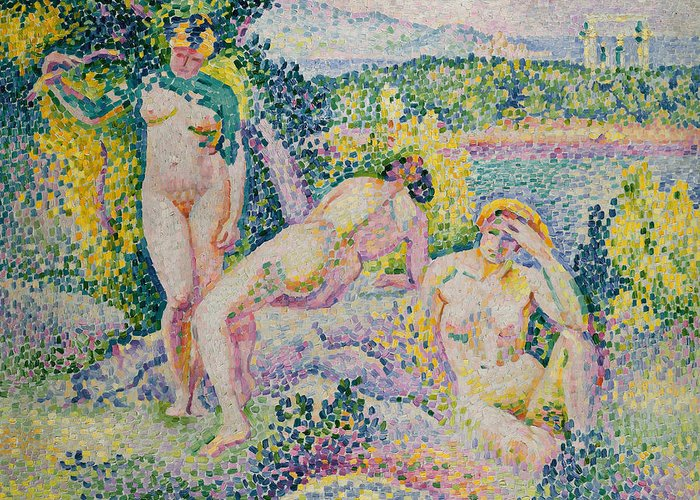 Nymphs Greeting Card featuring the painting Nymphs by Henri Edmond Cross
