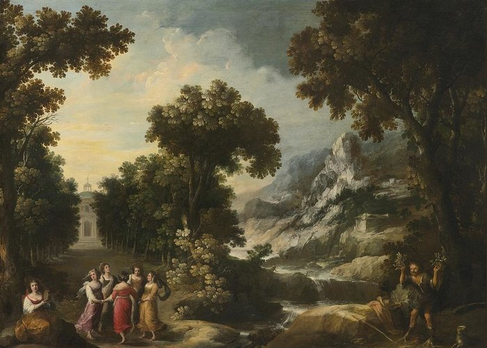 Francisco Collantes Greeting Card featuring the painting Nymphs Turning The Apulian Shepherd Into An Olive Tree by Celestial Images
