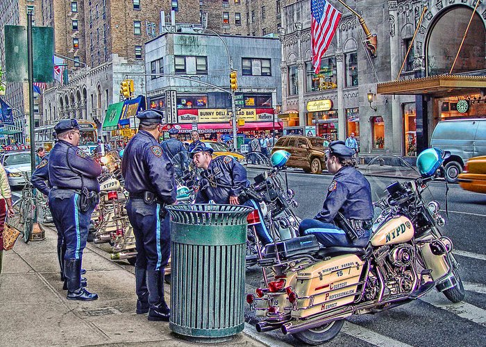 September Greeting Card featuring the photograph Nypd Highway Patrol by Ron Shoshani