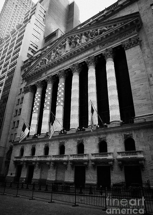Nyse new york stock exhange in lights of american flag wall street usa greeting card featuring the photograph nyse new york stock exhange in lights of american flag m4hsunfo