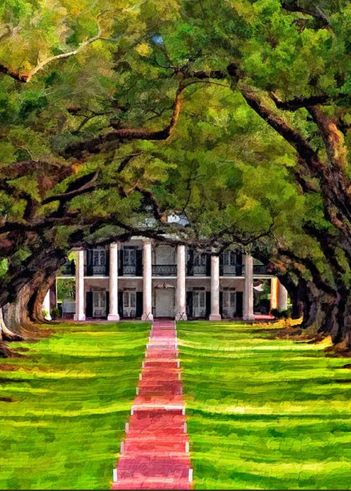 Oak Alley Plantation Greeting Card featuring the photograph Oak Alley Paint Version by Steve Harrington