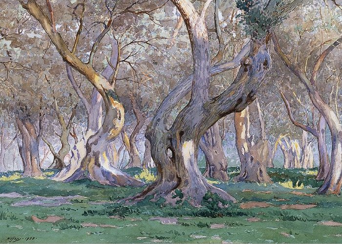 Tree Greeting Card featuring the painting Oak Grove by Gunnar Widforss