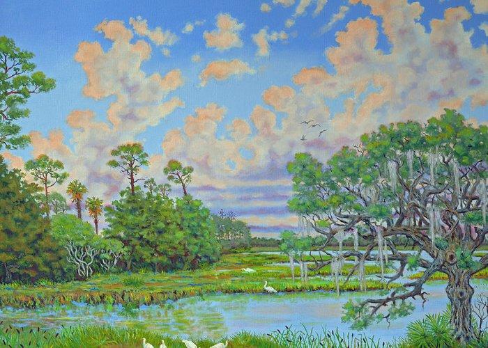 Edisto Greeting Card featuring the painting Oak Tree At Botany Bay Plantation by Dwain Ray