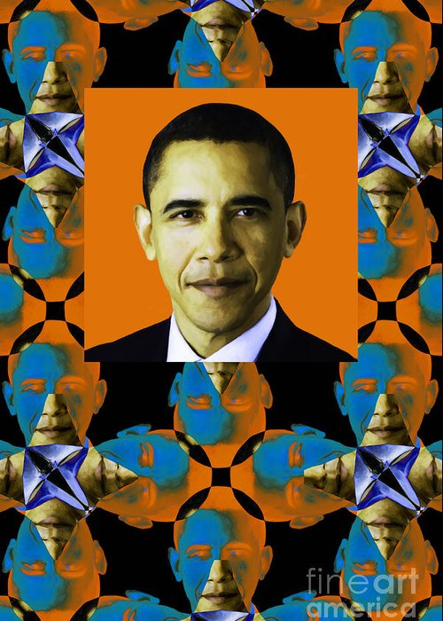 Politic Greeting Card featuring the photograph Obama Abstract Window 20130202verticalp28 by Wingsdomain Art and Photography
