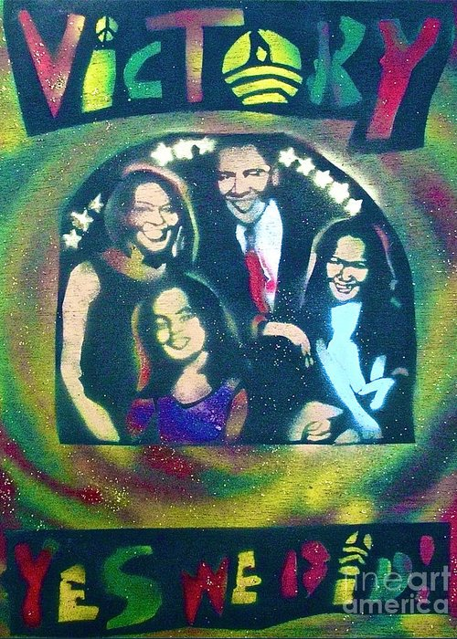 Barack Obama Greeting Card featuring the painting Obama Family Victory by Tony B Conscious