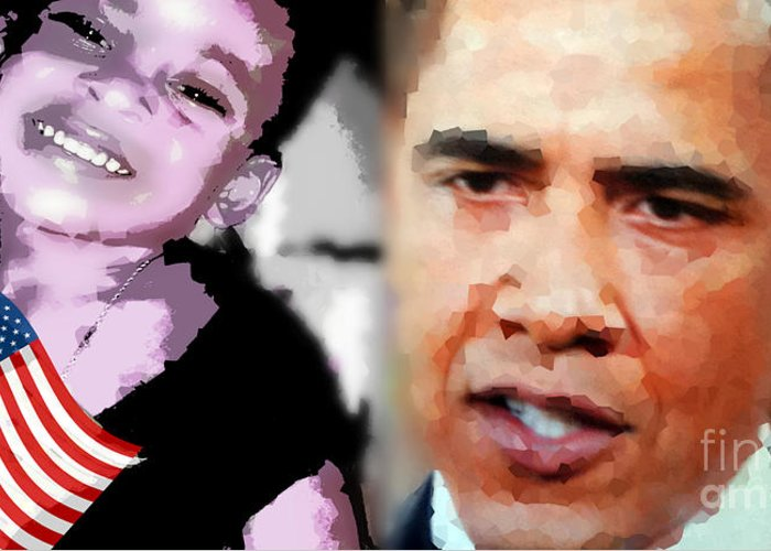 Fania Simon Greeting Card featuring the mixed media Obama - If I Had A Son He Would Look Like Me by Fania Simon