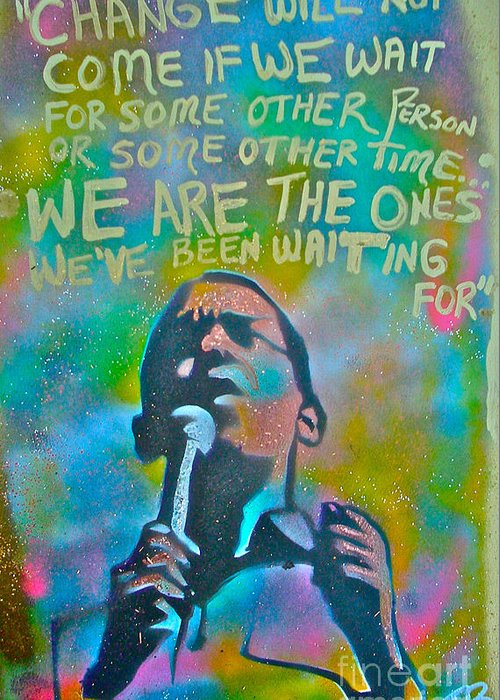 Barack Obama Greeting Card featuring the painting Obama In Living Color by Tony B Conscious