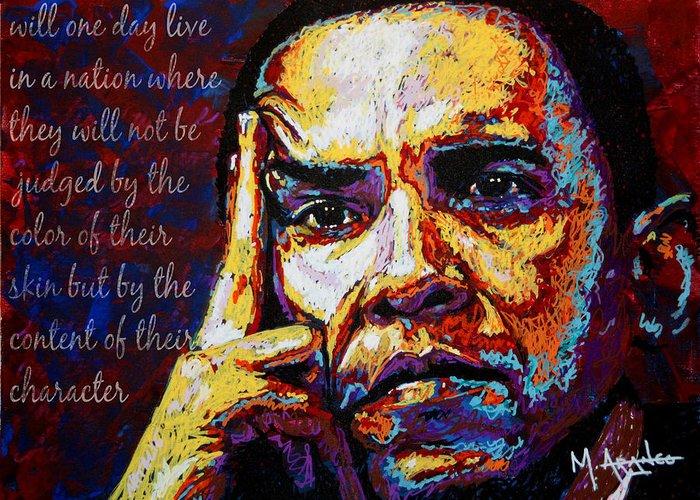 Barack Obama Greeting Card featuring the painting Obama by Maria Arango