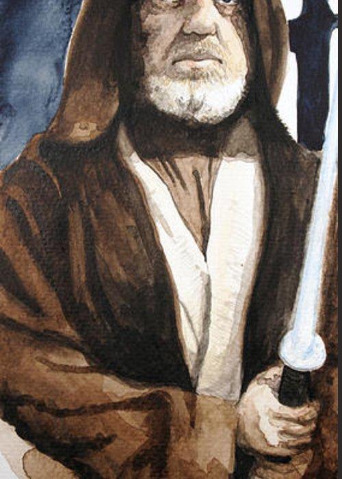 Star Wars Greeting Card featuring the painting Obi Wan Kenobi by David Kraig