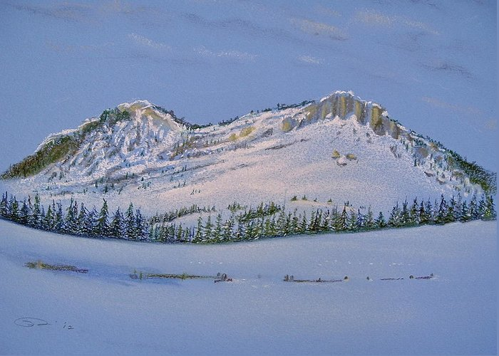 Observation Peak Greeting Card featuring the pastel Observation Peak by Michele Myers
