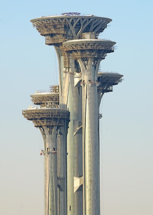 observation Tower Greeting Card featuring the photograph Observation Tower At Olympic Park - Beijing China by Brendan Reals