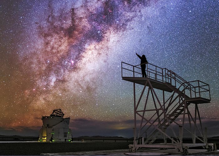 Astronomical Greeting Card featuring the photograph Observer Pointing At The Milky Way by Babak Tafreshi
