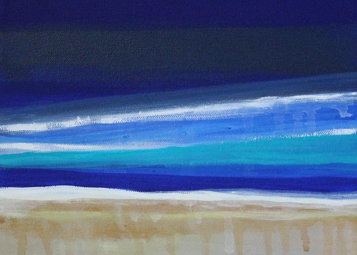 Abstract Painting Greeting Card featuring the painting Ocean Blue by Linda Woods