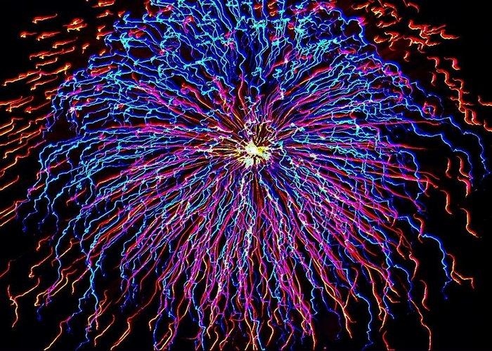 Ocean City Greeting Card featuring the photograph Ocean City Fireworks by Lisa Merman Bender