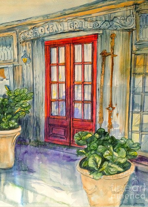 Watercolor Greeting Card featuring the painting Ocean Grill by Diane Phelps