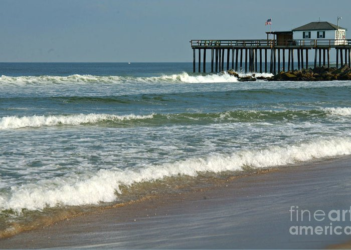 Fishing Pier Greeting Card featuring the photograph Ocean Grove Fishing Pier by Anna Lisa Yoder