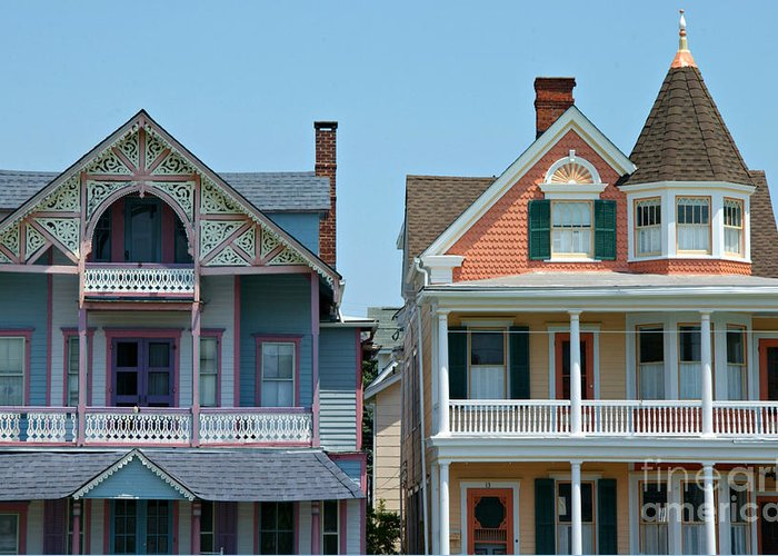 Homes Greeting Card featuring the photograph Ocean Grove Gingerbread Homes by Anna Lisa Yoder