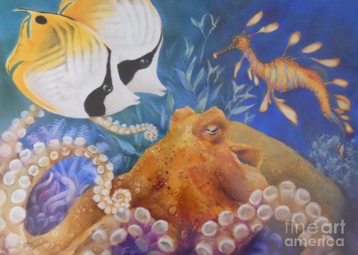 Ocean Greeting Card featuring the painting Ocean Hang Out by Summer Celeste
