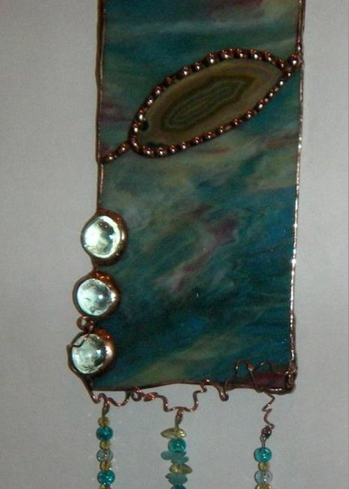 Stained Glass Panel Greeting Card featuring the glass art Ocean by Nora Solomon