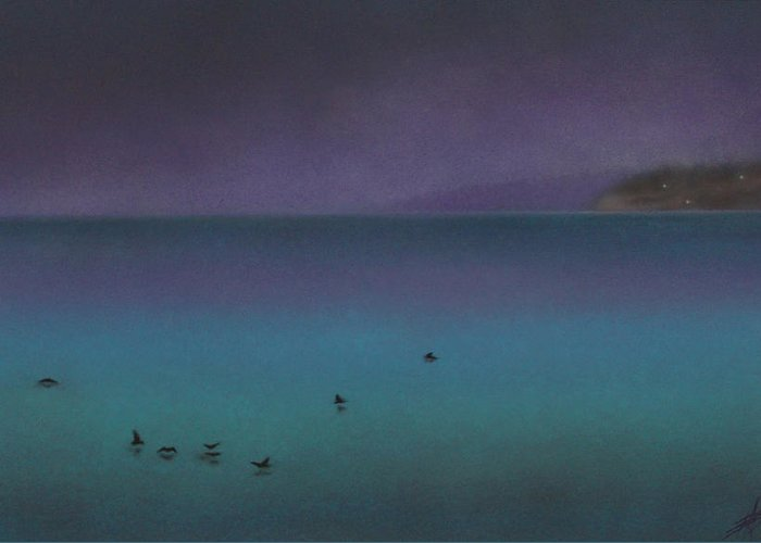 Nature Greeting Card featuring the painting Ocean of Glass with Seabirds by Robin Street-Morris
