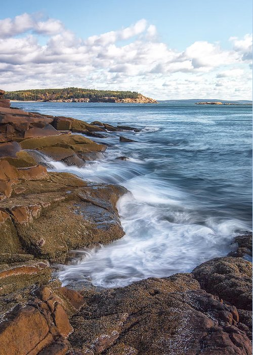 Vertical Greeting Card featuring the photograph Ocean On The Rocks by Jon Glaser
