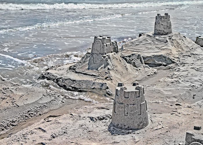 Topsail Greeting Card featuring the photograph Ocean Sandcastles by Betsy Knapp