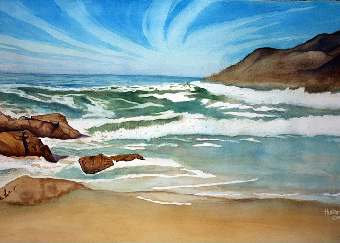 Rick Huotari Greeting Card featuring the painting Ocean Side by Rick Huotari