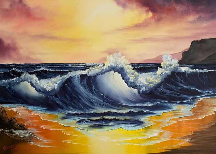 Seascape Greeting Card featuring the painting Ocean Sunset by Chris Steele
