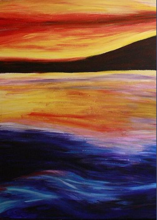 Nature Greeting Card featuring the painting Ocean Sunset by Rebecca Schoof