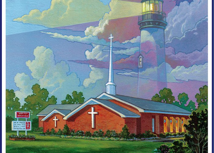 Landscape Greeting Card featuring the painting Ocean View Baptist Church by Tom Wooldridge