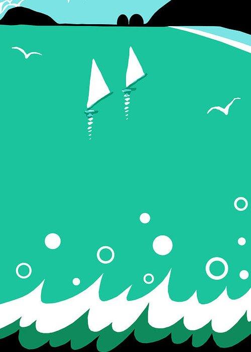 Ocean Greeting Card featuring the digital art Ocean View In Shades Of Blue Green by Nancy Lorene