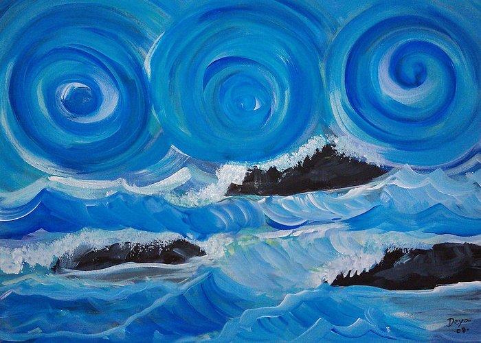 Abstract Ocean Greeting Card featuring the painting Ocean Waves by Deyanira Harris