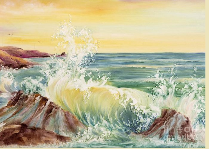 Water Greeting Card featuring the painting Ocean Waves II by Summer Celeste