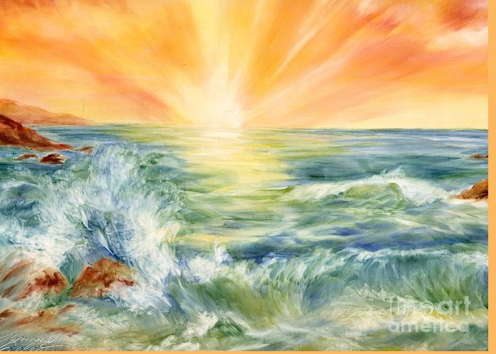 Sunset Greeting Card featuring the painting Ocean Waves IIi by Summer Celeste