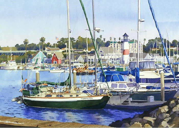 Boating Greeting Card featuring the painting Oceanside Harbor by Mary Helmreich