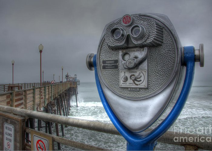 Oceanside Greeting Card featuring the photograph Oceanside Pier California Binocular Vision by Bob Christopher