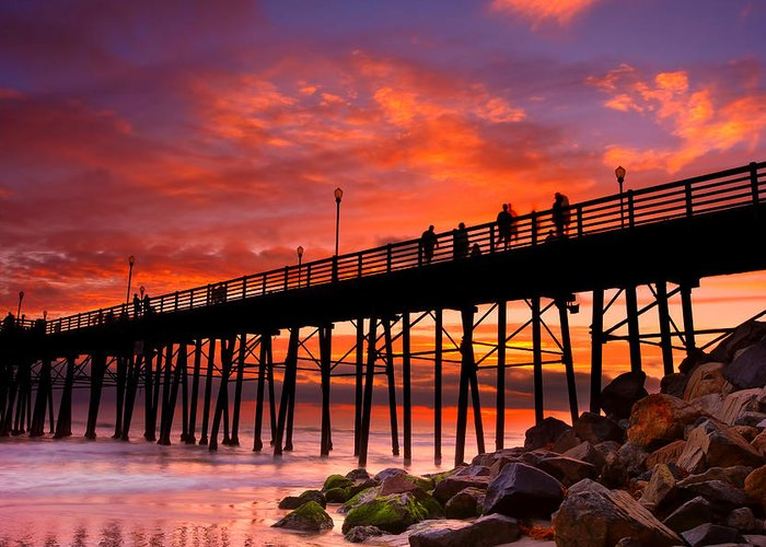 Larry Marshall Greeting Card featuring the photograph Oceanside Sunset 12 by Larry Marshall